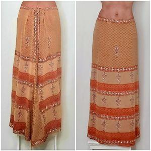 Ya Ya Silk Orange Sequin Embellished Maxi Skirt XS